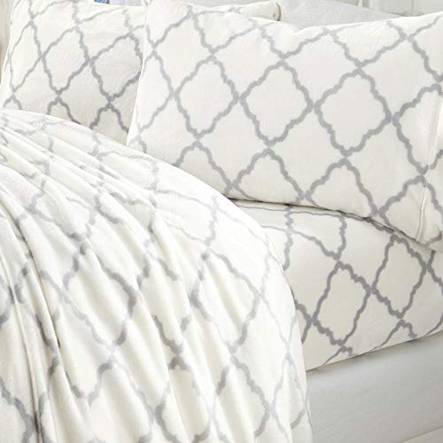 Extra Soft Cozy Velvet Plush Sheet Set. Deluxe Bed Sheets with Deep Pockets. Velvet Luxe Collection (Queen, White/Grey)
