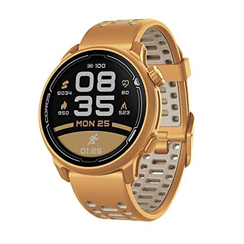Orologio sportivo GPS COROS PACE 2 Premium con cinturino in nylon o silicone, cardiofrequenzimetro, batteria GPS completa per 30 ore, barometro (Silicone Oro)