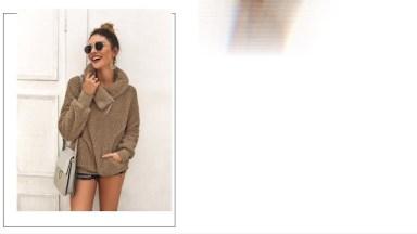 Women's Winter Lapel Sweatshirt Faux Shearling Shaggy Warm Leopard Pullover