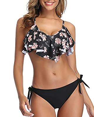 This two piece flounce bikini features with cross back and hook closure on the back, adjustable spaghetti straps, push up padded up bra, give perfect fit and excellent support to your silhouette. Black Double Ruffled flounce bikini top with tropical ...