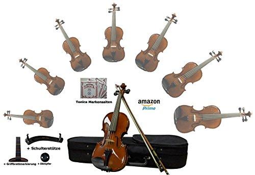 Sinfonie24 Geige Violine Größe 4/4 für Einsteiger, Hamburger Geigenbau Manufaktur, (Basic III) All-in One Starter-Set (Koffer, Bogen, Kolophonium, Griffbrettmarkierung, Schulterstütze, Dämpfer), palisanderfarbend, spielfertig eingerichtet mit Markensaiten