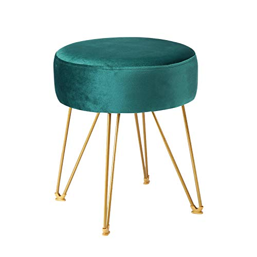 ERONE Round Footstool Ottoman Velvet Dressing Stool with Gold Metal Legs Upholstered Footrest,Makeup Chair Side...
