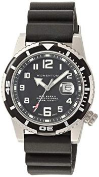 Men's Sports Watch | M50 Nylon Dive Watch by Momentum | Stainless Steel Watches for Men | Sapphire Crystal Analog Watch with Japanese Movement | Water Resistant (500M/1650FT) Classic Watch - Black / 1M-DV52B1B