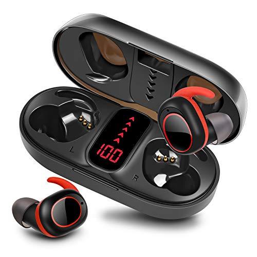 bakibo Auriculares Inalámbricos Bluetooth 5.1, TWS Deportivos Auriculares con Micrófono IPX7 Verdadero Sonido Estéreo Auriculares LCD Estuche de Carga 800mah, 40 Horas de Duración, Control Táctil