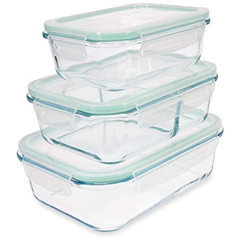 Navaris 3X boîte de Conservation Alimentaire en Verre thermorésistant - Boîte hermétique rectangulaire 3 Tailles - Aussi pour Cuisson