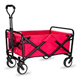 WHITSUNDAY Collapsible Folding Garden Outdoor Park Utility Wagon Picnic Camping Cart (Compact Size, Red)