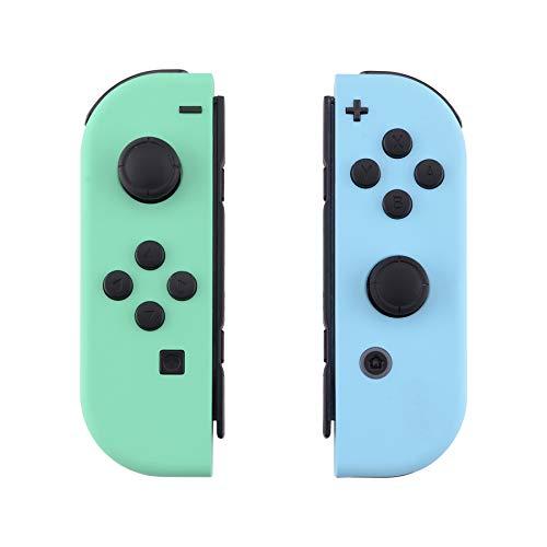 eXtremeRate Carcasa para Joy-Con Nintendo Switch Funda de Grip de reemplazo Tacto Suave Shell con Botón completo Case para Joycons Nintendo Switch-No incluye Carcasa de Consola(Menta Verde&Cielo Azul)