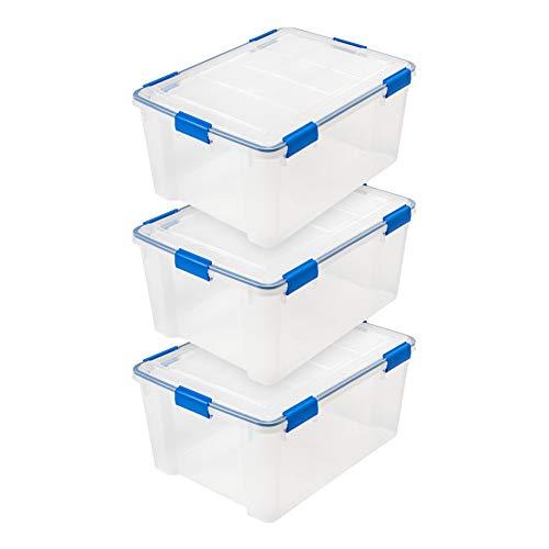 IRIS USA WSB-LD 60 Quart WEATHERTIGHT Multi-Purpose Storage Box, Clear with Blue Buckles, 3 Pack