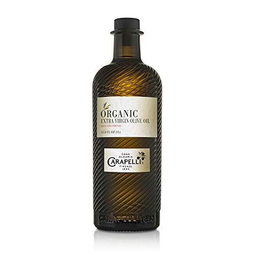 Carapelli - Organic Extra Virgin Olive Oil: Cold-Pressed Organic EVOO – 33.8 Fluid Ounces (1 Liter)