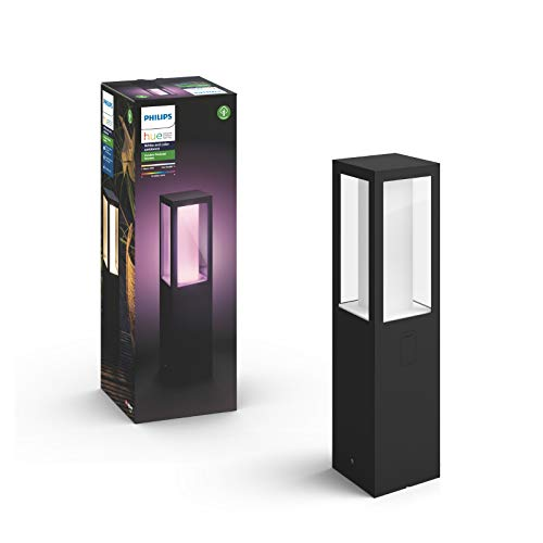 Philips Hue White and Color Ambiance LED Sockelleuchte Impress, für den Aussenbereich, dimmbar, bis zu 16 Millionen Farben, steuerbar via App, kompatibel mit Amazon Alexa (Echo, Echo Dot)