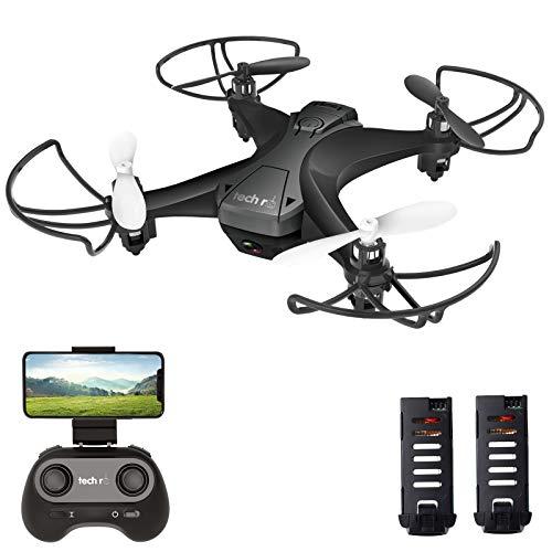 tech rc Mini Drone con HD Telecamera con Due Batterie Funzione di Sospensione Altitudine Un Pulsante di Decollo/ Atterraggio ,Modalità Senza Testa Protezioni 360°per Bambini e Principianti Buon Regalo