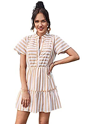 Fabric: This dress made of breathable and soft material, it is very skin-friendly and comfortable to wear Design: Striped, notched neck, butterfly sleeve, high waist, A-line, flared hem dress for women Occasion: Suit for vacation, holiday, work, scho...