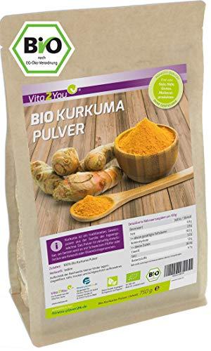 Kurkuma Pulver Bio 750g - Rohkost-Qualität - natürliches Kurkumin - Kurkumapulver - Curcuma gemahlen mit Curcumin - Laborgeprüft - Premium Qualität