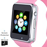 Smart Watch, Smartwatch Phone with SD Card Camera Pedometer Text Call Notification SIM Card Slot Music Player Compatible for Android Samsung Huawei and...
