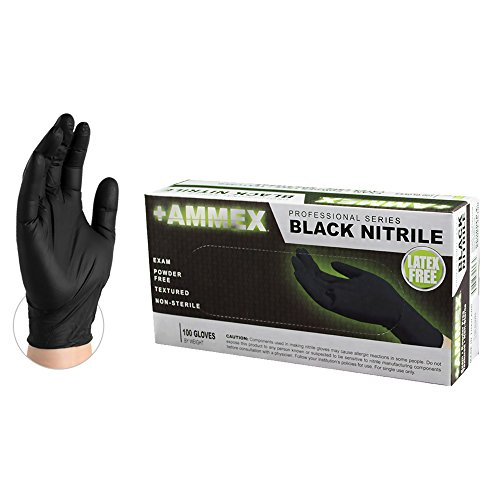 AMMEX Medical Black Nitrile Gloves, Box of 100, 4 mil, Size Small, Latex Free, Powder Free, Textured, Disposable, Non-Sterile, ABNPF42100-BX