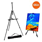 FUDESY Easel Stand,66' Aluminum Metal Display Easel Artist Easel Tripod with Portable Bag Adjustable Height from 21' to 66' for Table-Top/Floor Painting,Displaying,Drawing
