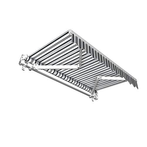 jarolift Gelenkarmmarkise Basic Balkonmarkise Sichtschutz für Terrasse, 400 x 300 cm (Breite x Ausfall), Grau-Weiss Multistreifen