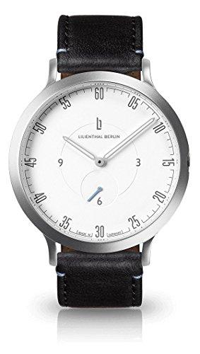 Lilienthal Berlin Unisex Armbanduhr L1 in Silber-Weiß mit schwarzem Lederarmband| Prämiertes Design | Qualität Made in Germany | Höchster L01-101-B004A