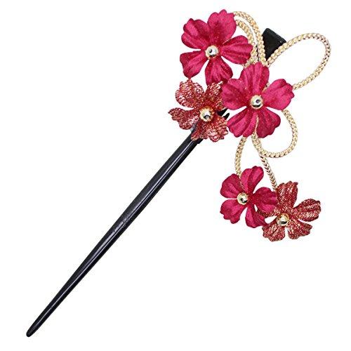 鎌倉工芸 [カマクラクラフト] 葵 の 花 かんざし ( 簪 ) 髪飾り バイオレット 赤紫