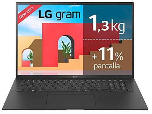 "LG gram 17Z90P Windows 10 Home, Ultraligero de 43.2 cm (17"") WQXGA 16:10 IPS (1.3 Kg, autonomía 15h, Intel EvoTM i7 11ª Gen., Iris Xe, 32GB RAM, 1TB SSD NVMe), Teclado Español, Negro"