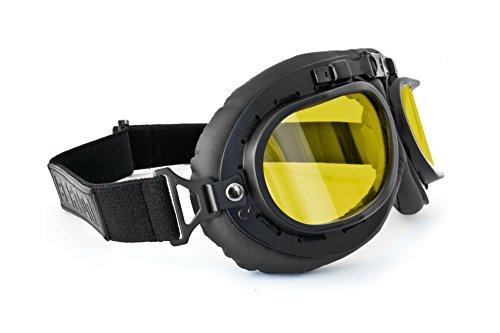 Bertoni Gafas de Moto Mascara Vintage Style Lente Amarilla mod. AF195B negra - Gafas Motoristas para Cascos Moto Harley y Chopper