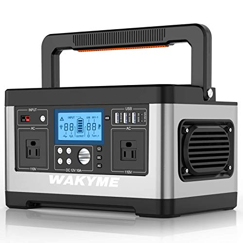 WAKYME 520Wh Portable Power Station, 140400mAh CPAP Backup Lithium Battery Pack Solar Generator with 110V AC Outlet, QC 3.0 USB, Type-C Port, Power Adapter/Car Charger/Cigarette Lighter Adapter