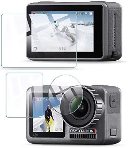 QULLOO Compatibile con DJI Osmo Action Cam Camera Pellicola protettiva vetro temperato Protezione Proteggi Schermo per DJI Osmo Action Cam accessories [3 Pezzi] -Trasparente