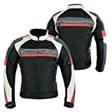 MOTORCYCLE ARMOURED HIGH PROTECTION CORDURA WATERPROOF JACKET BLACK/WHITE/RED ARMOUR CJ-9494 (XL)