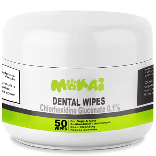 MOKAI Dental Wipes for Dogs and Cats   Dog Dental Wipes with Chlorhexidine Great for Dog Teeth Cleaning and Cat Teeth Cleaning Preventing Plaque Tartar Bad Breath Tooth Decay and Gingivitis (50 Pads)