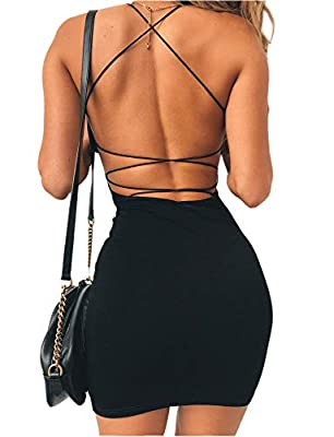 Stretch fabric:95% Polyester,5% Spandex. Have lining,Low cut round neckline,Thin straps with crossover detailing,Backless with crossover straps. True to size,Model is wearing a size XS. The perfect dress for any birthday or night out, we love it with...
