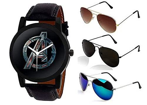 Sheomy Combo of Avenger Printed Watch Round Dial Synthetic Leather Black Strap Analogue Quartz Wrist Watch for Men and Sunglasses Combo Avenger Printed (3J-GFR2-DYYM)