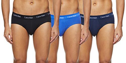 Calvin Klein Cotton Stretch-3er Slip, Azul (Black/Blue Shadow/Cobalt Water DTM WB 4ku), Large (Pack de 3) para Hombre