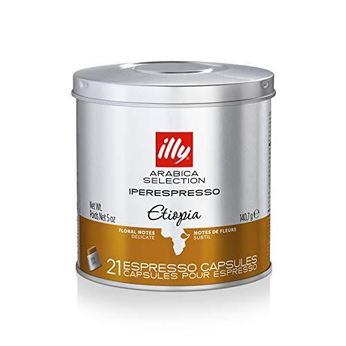 illy Coffee, iperEspresso Capsule,Arabica Selections Ethiopia Single Origin Espresso Pods, 100% Arabica Bean Premium Gourmet Light Roast, Citrus & Floral Notes; For illy iperEspresso Machines (21 ct)