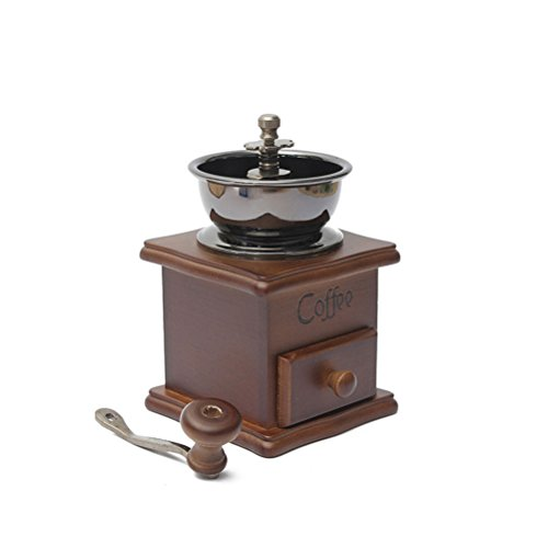 Fenical Manual Coffee Bean Hand Grinder Spice Herbs Vintage Style Wooden Retro Burr Mill Coffee Beans Grinding Machine Grain Mill