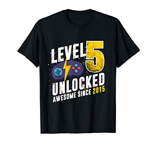 Level 5 Unlocked Awesome Since 2015 Video Game 5th Birthday T-Shirt