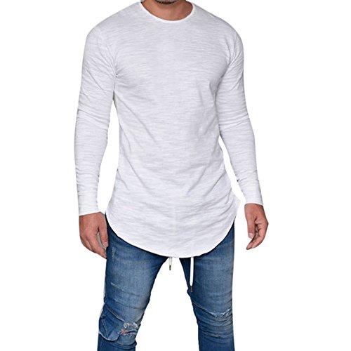 OverDose Camisetas Hombre Manga Larga Delgada del O-Cuello Ocasional Blusa de Las Tapas (XL, Blanco)