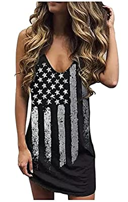 ❤ Material:Cotton Blend, super soft, comfortable and breathable, full of elasticity.The cool and fresh summer style is well received by women. ❤ Detail: Womens Deep V-neck Sexy Mini Dress American Flag Star Striped Tank Mini Dress Vintage Letters Pri...