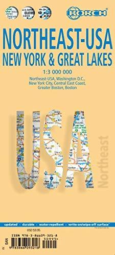 EE.UU. Noreste - Estado de NY & Grandes Lagos, mapa de carreteras plastificado. Escala 1:3.000.000.