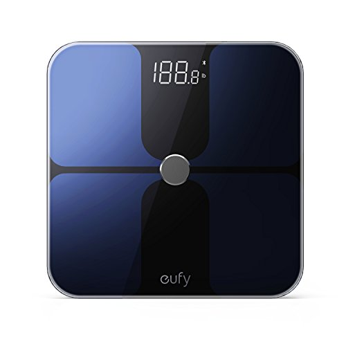 eufy Smart Scale with Bluetooth 4.0, Large LED Display, Weight/Body Fat/BMI/Fitness Body Composition Analysis, Auto On/Off, Auto Zeroing, Tempered Glass Surface, Black, lbs/kg/st Units