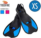 Comfecto Snorkeling Swimming Fins Size XS for Big Kids Youth Woman Boys Girls Age 8-12 Years Old, Thermoplastic Rubber Short Floating Training Fin for Scuba Diving Snorkel Watersport, Blue