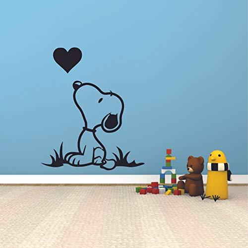 Snoopy Peanuts Dog Character Cute Heart Kiss Cartoon Wall Sticker Art Decal for Girls Boys Room Bedroom Nursery Kindergarten House Fun Home Decor Stickers Wall Art Vinyl Decoration Size (20x18 inch)