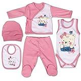 QAR7.3 Vêtements Bébé Nouveau-Né - Layette 5 Pièces Fille - Rose