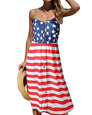 ❤Material: 85% Polyester and 15% Spandex,Soft and Comfortable. ❤Feature: USA Flag Print, Star and Stripe, Sleeveless, V Neck, Elastic Empire Waist, Loose Fit.Great dressing for 4th July. Blue, Red and White. ❤ Occasion:Daily Casual Wear,Beachwear,Par...