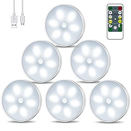 Luce notturna a LED con sensore di movimento, illuminazione a LED per armadio con telecomando USB ricaricabile con modalit auto/on/off illuminazione intelligente per interni (6 pezzi)