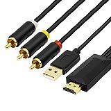 Convertisseur HDMI vers RCA, câble adaptateur de convertisseur audio vidéo...