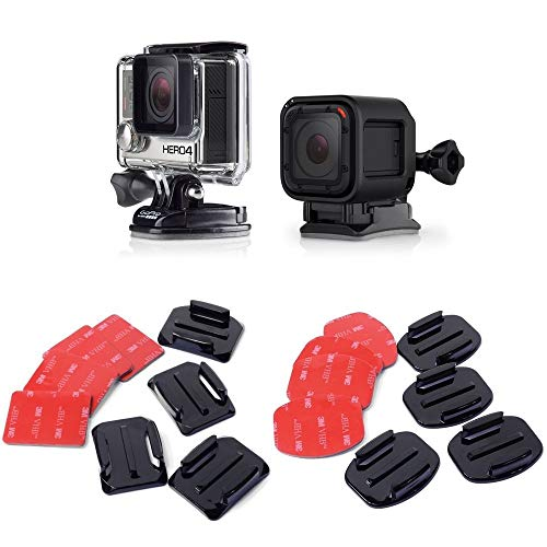 micros2u 16 Pezzi Casco Adesivo 3m Adesivo Piatto Curvo mounts Kit Accessori per GoPro Hero 7 6 5 4 3 + Action Camera