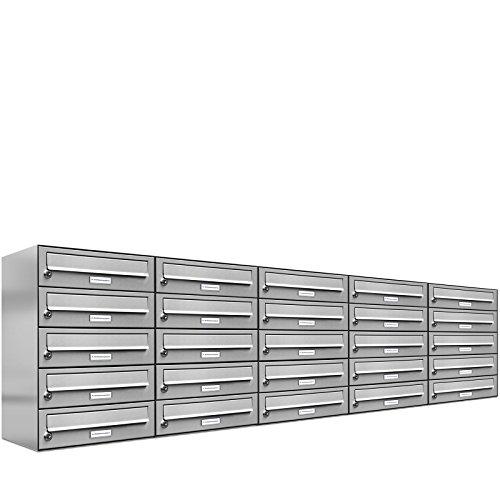 AL Briefkastensysteme 25er Briefkastenanlage Edelstahl, Premium Briefkasten DIN A4, 25 Fach Postkasten modern Aufputz