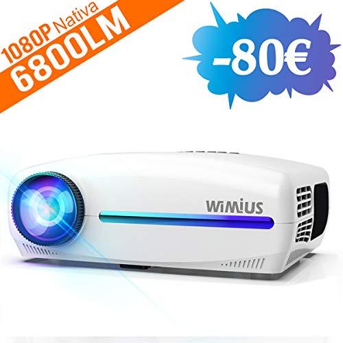 Videoproiettore,WiMiUS 6800 Lumen Proiettore Nativa 1920 x 1080P LED Full HD Supporto 4K Videoproiettore 4D Keystone...