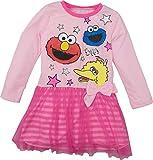 Sesame Street Toddler Girls' Tulle Dress Big Bird, Cookie Monster and Elmo (4T Pink)