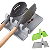 Silicone Utensil Rest [2-Pack],BPA-Free and Heat-Resistant Utensil Rest with Drip Pad, Spoon Rest & Spoon Holder for Stove Top, Kitchen Utensil Holder for Spoons, Ladles, Tongs